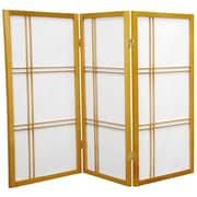 Oriental Furniture 35.75'' Double Cross Shoji Screen 3 Panel Room Divider; Honey