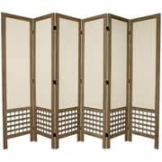 Oriental Furniture 67'' Tall Open Lattice Fabric 6 Panel Room Divider; Gray