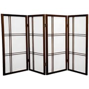 Oriental Furniture 35.75'' Double Cross Shoji Screen 4 Panel Room Divider; Walnut