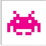 iCanvas Space Invaders Graphic Art on Canvas in Pink; 26'' H x 26'' W x 1.5'' D