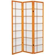 Oriental Furniture 71'' Double Cross 3 Panel Room Divider; Honey