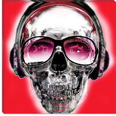 iCanvas Skull Sun Glasses by Luz Graphics Graphic Art on Canvas in Red; 12'' H x 12'' W x 1.5'' D