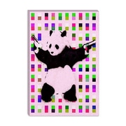 iCanvasArt Street Art Panda with Guns Dots Graphic Art on Canvas in Pink; 18'' H x 12'' W x 0.75'' D