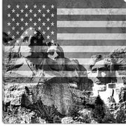 iCanvas Mount Rushmore, US Flag Graphic Art on Canvas in Black; 26'' H x 26'' W x 1.5'' D