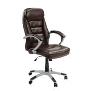 Innovex Excelsus High-Back Leather Executive Office Chair; Brown