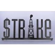 Metrotex Designs 'STRIKE' Shelf Sign Textual Art in Black / Gold Metallic Fleck