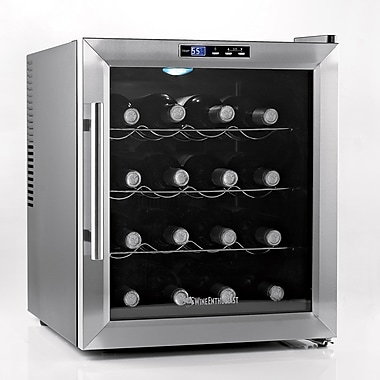 Wine Enthusiast Companies Silent 16 Bottle Single Zone Thermoelectric Wine Refrigerator
