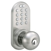Milocks Electronic Keyless Entry Door Lock with Remote Control; Satin Nickel