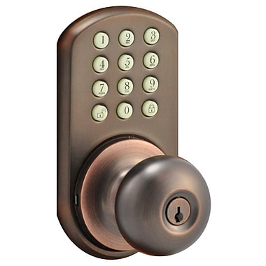 milocks electronic keyless door lock entry set oil rubbed bronze staples. Black Bedroom Furniture Sets. Home Design Ideas