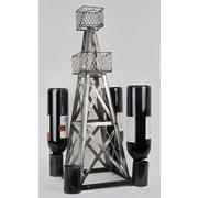 Metrotex Designs Industrial Evolution Handmade Oil Derrick 4 Bottle Tabletop Wine Rack