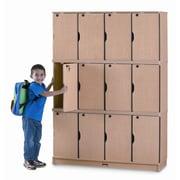 Jonti-Craft 4-Section Stacking Lockable Lockers; Triple Stack