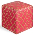 Fab Rugs World Tangier Cube Ottoman; Pinkberry/Bronze