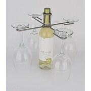 Metrotex Designs Wine Bottle 4 Stem Holder; Pewter