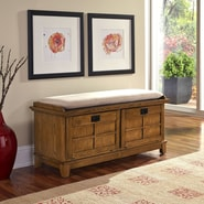 Home Styles Arts and Crafts Upholstered Entryway Bench; Cottage Oak