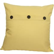 Xia Home Fashions Solid Color with Buttons Feather Fill Cotton Throw Pillow; Yellow