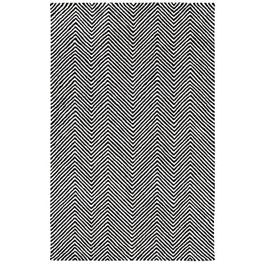 Dynamic Rugs Celeste Chevron Hand-Tufted Black Area Rug; 3'6'' x 5'6''