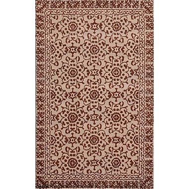 Dynamic Rugs Sapphire Chocolate / Beige Floral Area Rug; 5' x 8'