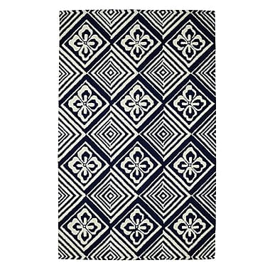 Dynamic Rugs Palace Blue/Ivory Geometric Area Rug; 2' x 4'