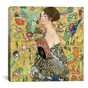 iCanvas 'Lady w/ a Fan' by Gustav Klimt Painting Print on Canvas; 12'' H x 12'' W x 0.75'' D