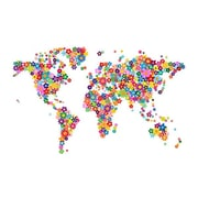 iCanvas 'Flowers World Map' by Michael Tompsett Graphic Art on Canvas; 40'' H x 60'' W x 1.5'' D