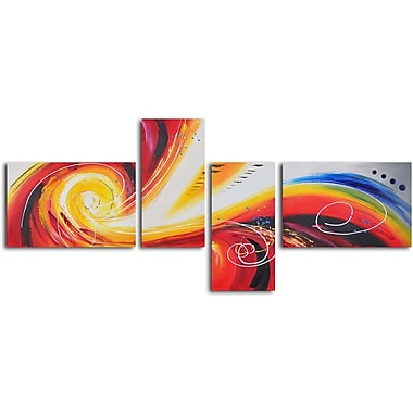 My Art Outlet 'Eye of Rainbow Storm' 4 Piece Original Painting on Wrapped Canvas Set