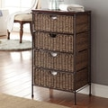 4D Concepts Farmington 4 Drawer Maize Weave Chest with Wood Top