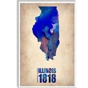 iCanvas Naxart Illinois Watercolor Map Graphic Art on Canvas; 18'' H x 12'' W x 0.75'' D