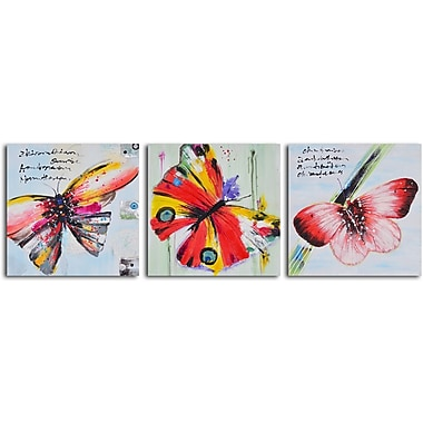 My Art Outlet 'Poetry of Butterfly Flight' 3 Piece Original Painting on Wrapped Canvas Set