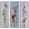 My Art Outlet 'Urban Abstract Triptych' 3 Piece Original Painting on Canvas Set