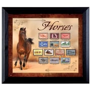 American Coin Treasure Horses on Stamps Wall Framed Vintage Advertisement in Black