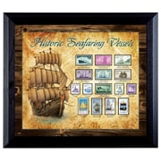 American Coin Treasure Ships on Stamps Wall Framed Vintage Advertisement in Black