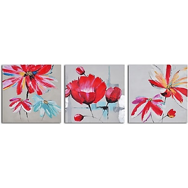 My Art Outlet 'Floral Relations Triptych' 3 Piece Original Painting on Wrapped Canvas Set
