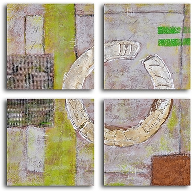 My Art Outlet 'Embossed Gold on Tiles' 4 Piece Original Painting on Wrapped Canvas Set