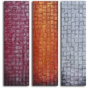 My Art Outlet ''Trio of Textured Panels'' 3 Piece Original Painting on Wrapped Canvas Set