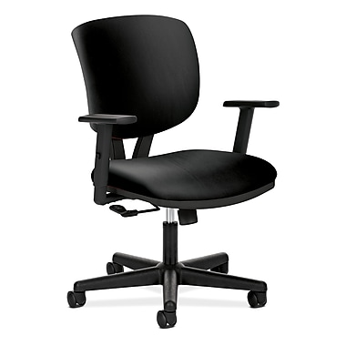 HON® Volt® 5700 Series 40in.H SofThread Leather Mid Back Task Chair With Center-Tilt, Black