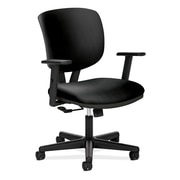 HON Volt Low-Back Leather Task Chair, Adjustable Arms, Black (H5701ASB11)