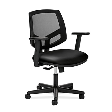 HON® Volt® 5700 34.37in. - 38.5in.H SofThread Leather Mesh Mid Back Task Chair With Synchro Tilt, Black