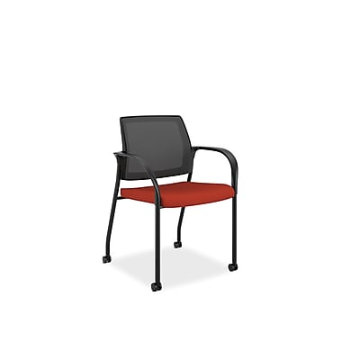HON® Ignition Polyester Fabric Mobile Stacking Chair, Poppy/Black