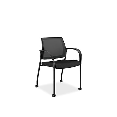 HON® Ignition Polyester Fabric Mobile Stacking Chair, Black