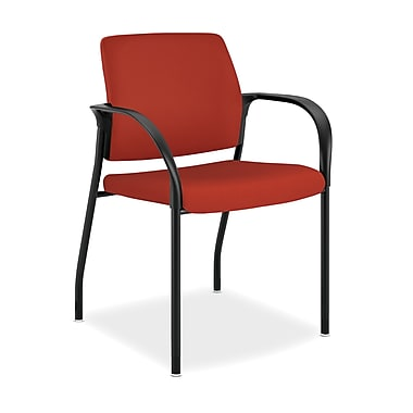 HON® Ignition Fabric Stacking Chair With Glides, Crimson Red