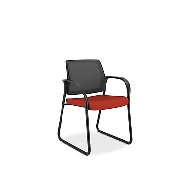 HON® Ignition Mesh Back Fabric Guest Chair With Sled Base, Poppy