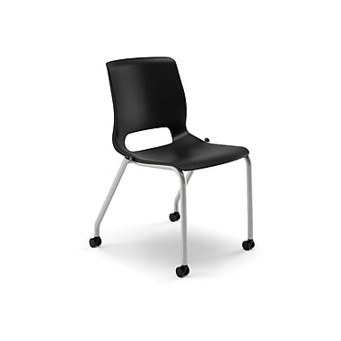 HON® Motivate Plastic Stacking Chair, Onyx