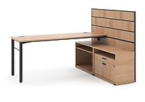 basyx by HON® Manage® Semi-Private L-Workstation Desk with Storage Wheat