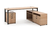 basyx by HON® Manage® L-Workstation Desk w/ Storage, Wheat