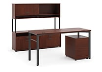 basyx by HON® Manage® Executive Desk & Credenza Workstation, Chestnut
