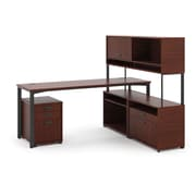 HON basyx Manage 55.6 x 72 x 60 Laminate L-Workstation, Chestnut