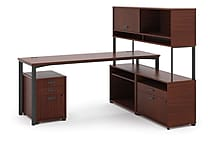 basyx by HON® Manage® L-Workstation Desk with Storage, Chestnut Finish