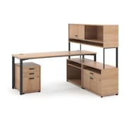 basyx by HON® Manage® L-Workstation Desk with Storage, Wheat Finish