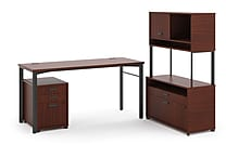 HON basyx Manage 72'(W) Melamine L-Workstation With Pedestal, Chestnut