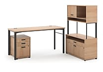 basyx by HON® Manage® L-Workstation Desk with Storage Wheat Finish